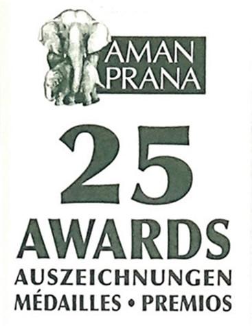 Étiquette de goulot avec 25 médailles de l'huile d'olive bio Verde Salud d'Amanprana