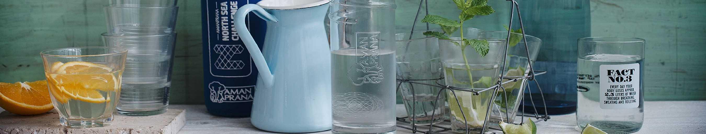 Eco respect fles. Glazen drinkfles van Amanprana.