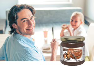 Choco hazelnut spread father and daughter