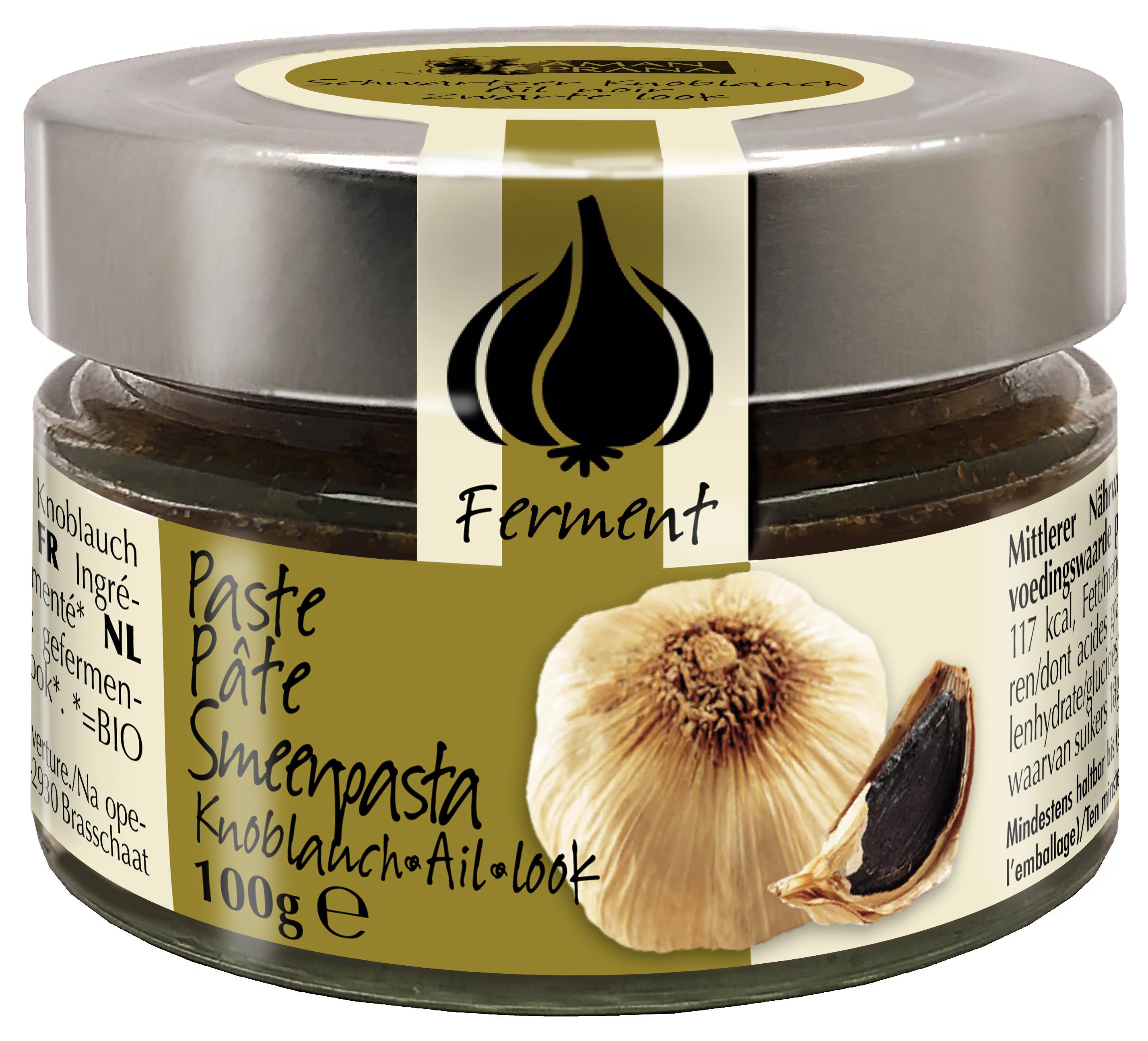 Verpakking van Amanprana's Zwarte knoflook pasta