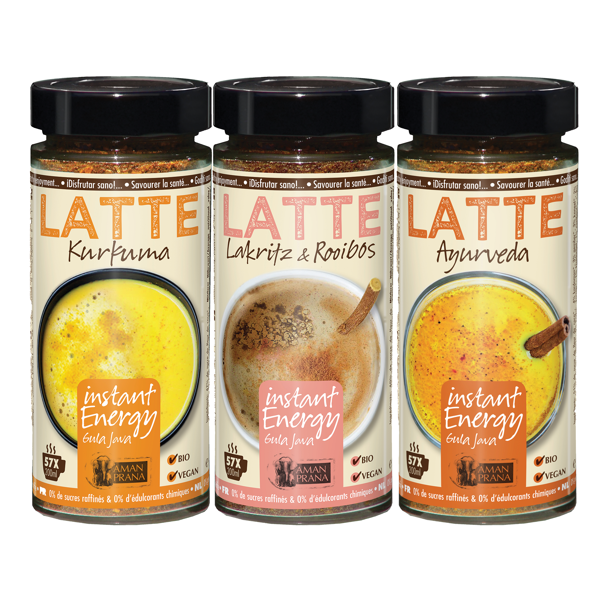 Lattes in a row for instant energy