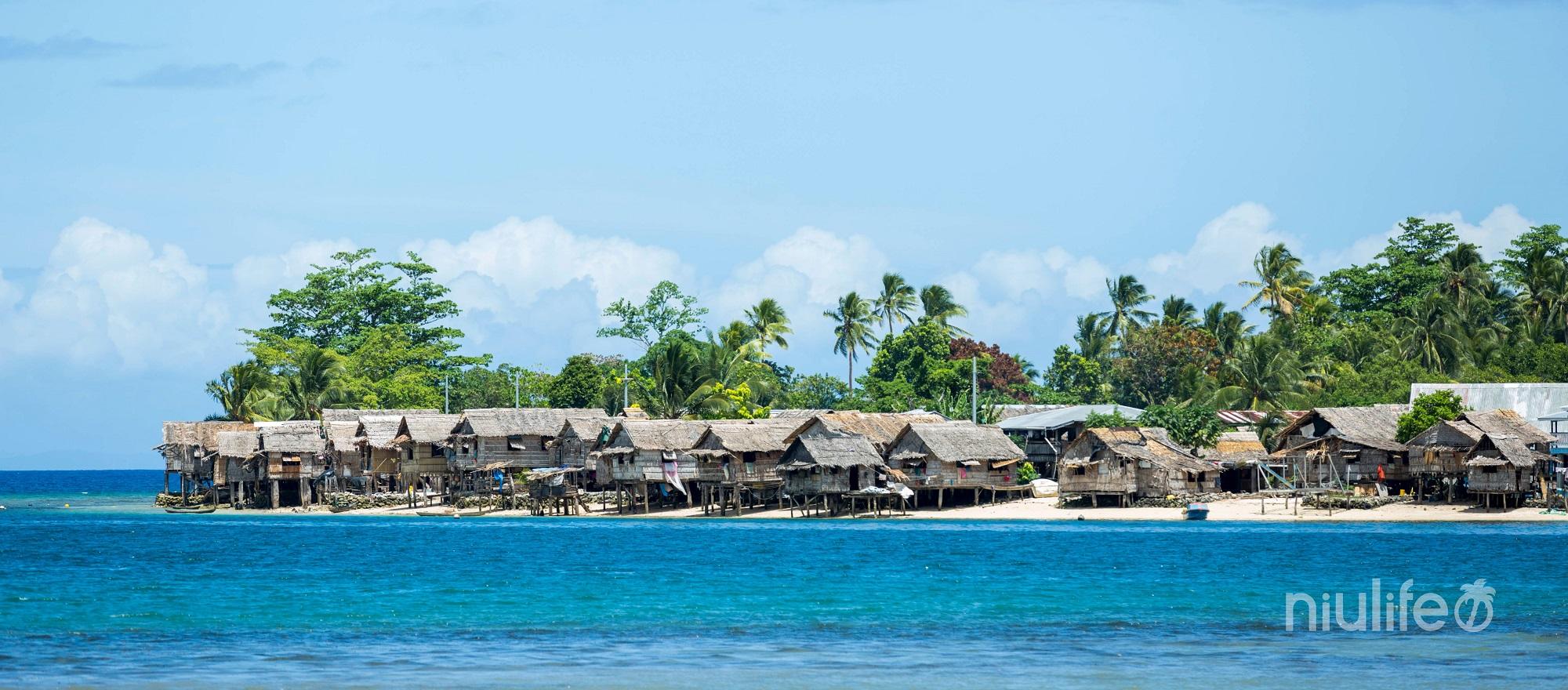 huisjes van de Solomon bewoners waar de meest fair trade kokosolie wordt geproduceerd.
