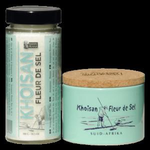 De verpakkingen van Amanprana's Khoisan fleur de sel 1 van werelds gezondste zouten