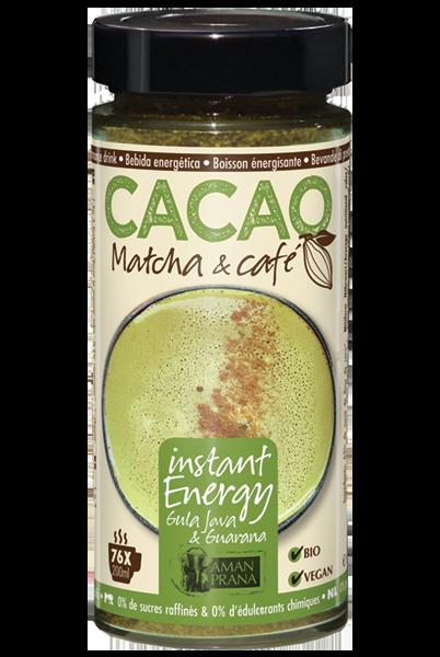 instant en langdurige energie met Instant energy Cacao matcha & Café van Amanprana