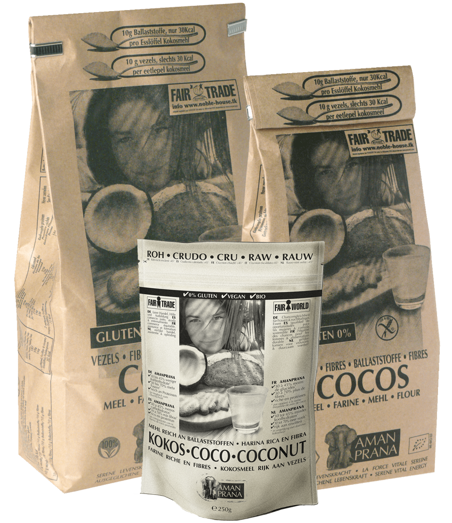 Packaging of Amanprana coconut flour. 100% raw food