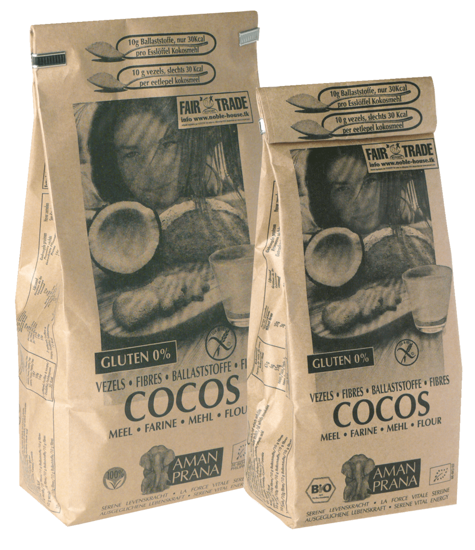Les emballages de la farine de coco Amanprana. Aliment 100% cru