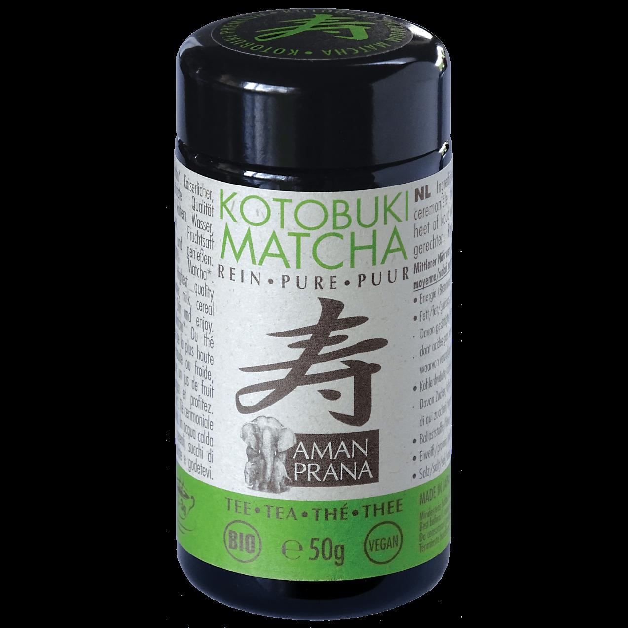 Donker glazen verpakking van de Kotobuki Matcha van Amanprana