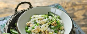 Recept met Verde Salud olijfolie: Risotto met doperwtjes en zwarte knoflook