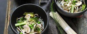 Recept met <br /> Boletus arbequina: Soupe aux nouilles Udon aux légumes de printemps et champignons