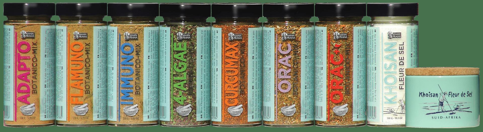 De glazen verpakkingen van de 7 Botanico kruidenmixen van Amanprana voeding als medicijn