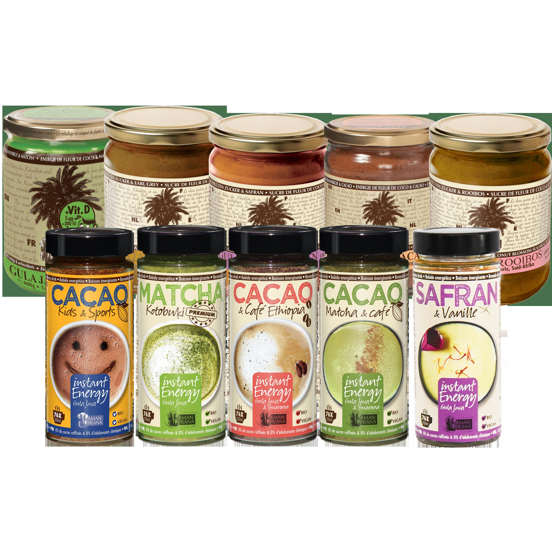 Glazen potten Gula Java presatiedrankpoeder met kokosbloesemsuiker voor natuurlijke sportdrank