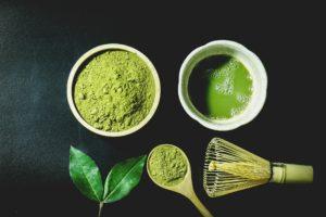Matcha Japanese green tea powder and whiskey