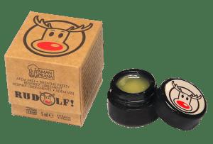 Rudolf embalaje y frasco abierto