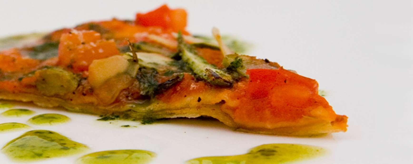Tortilla's in pizza stijl met aspergepunten