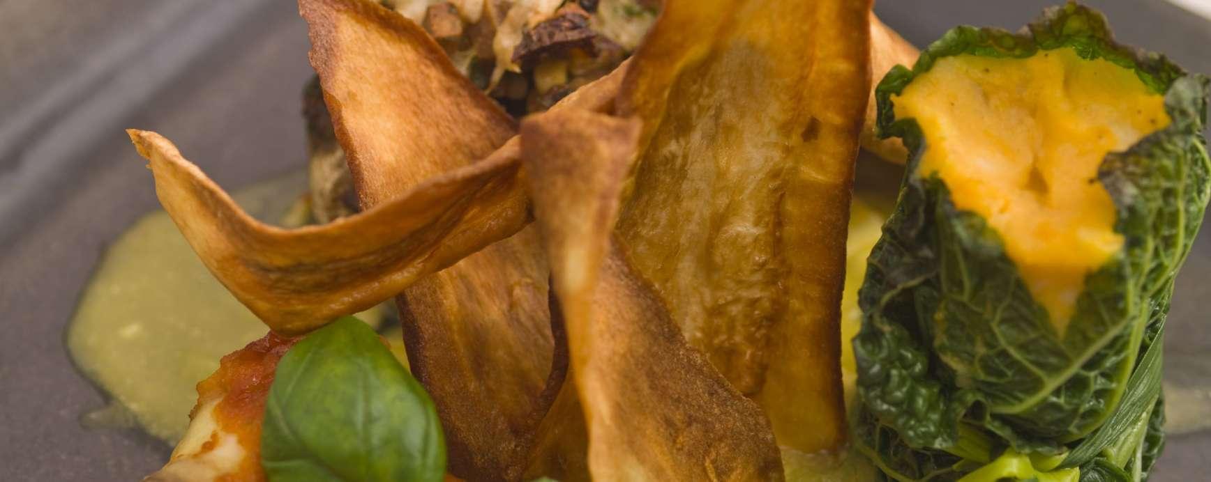 Trio van gevulde groenten met pompoen - geitenkaassaus